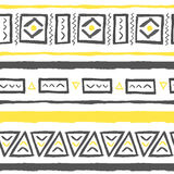 Vector hand drawn tribal pattern with triangles. Vector hand drawn tribal pattern with triangles and rectangles. Seamless geometric background with grunge Stock Photo
