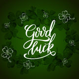 Vector hand drawn typographic design. St. Patrick`s Day greeting. Lucky day. Lettering for poster, card, banner, brochure Royalty Free Stock Photography