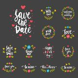 Vector hand drawn typography save the date quote text logo badge design wedding for greeting cards or invitations Stock Images