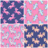 Vector hand drawn unicorns seamless patterns set Stock Images