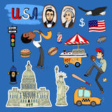 Vector hand-drawn USA Landmarks set Stock Images