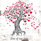 Vector hand drawn Valentines Day tree with red hearts tree of ou Royalty Free Stock Photography
