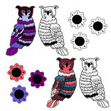 Vector hand drawn varicolored owl Royalty Free Stock Photos