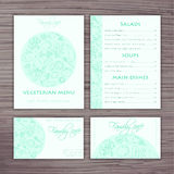 Vector hand drawn vegetables template of business style for cafe. Menu, banner and visiting card Stock Image