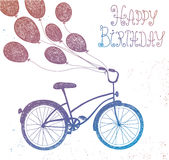 Vector hand drawn vintage bicycle with balloons. Royalty Free Stock Photos