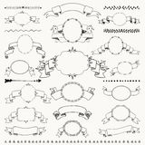 Vector Hand Drawn Vintage Frames, Ribbons, Banners Stock Images