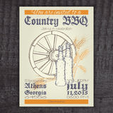 Vector hand drawn vintage invitation on country Stock Photo