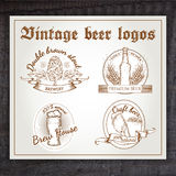 Vector hand drawn vintage set of beer logo on Royalty Free Stock Photography