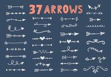 Vector hand drawn vintage tribal arrows set vector illustration