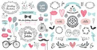 Vector hand drawn vintage wedding set. Decorative design elements ribbons, swirls, romantic illustrations, diveders royalty free illustration