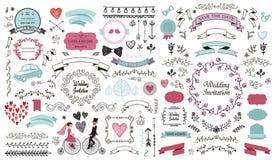 Vector hand drawn vintage wedding set. Decorative design elements ribbons, swirls, romantic illustrations, diveders stock illustration