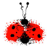 Vector hand drawn watercolor ladybug. Stock Images