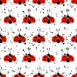 Vector hand drawn watercolor seamless pattern with ladybug. Royalty Free Stock Images