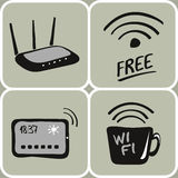 Vector hand drawn wifi icons. Set of hand drawn wifi devices icons stock illustration