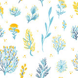 Vector hand drawn wild plants seamless pattern. Field plants illustration. Vector hand drawn wild plants seamless pattern. Field plants illustration in blue and Stock Photos