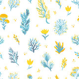 Vector hand drawn wild plants seamless pattern. Field plants illustration for textile, scrapbooking, backdrop. Vector hand drawn wild plants seamless pattern Royalty Free Stock Images