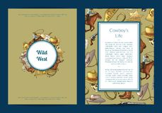Vector hand drawn wild west cowboy elements card or flyer template illustration. Vintage banner and poster royalty free illustration