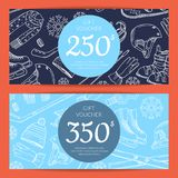 Vector hand drawn winter sports equipment gift card. Or voucher templates illustration Stock Photos