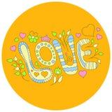Vector hand-drawn woordliefde op een gele achtergrond Vector illustratie Stock Afbeelding