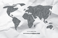 Vector Hand Drawn World Map Stock Images
