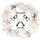 Vector hand drawn wreath of autumn leaves and two crossed axes. Vintage engraved fall wood illustration. Stock Images