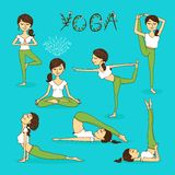 Vector hand-drawn yoga poses royalty free illustration