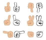 Vector hand gestures Stock Images