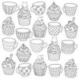 Vector Hand gezeichnete Illustration des Schalenkleinen kuchens für erwachsenes Malbuch Handzeichen für erwachsenes Antidruckmalb Lizenzfreies Stockbild