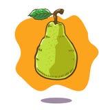 Vector Hand gezeichnete Illustration einer sich hin- und herbewegenden grünen Birnenfrucht auf orange Hintergrund Stockfotografie