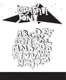 Vector Hand gezeichnete Illustration mit dem unvollständigen Graffitischwarzweiss-guß, lokalisiert auf Weiß 3d beschriftet Reihen Stockbilder