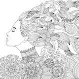 Vector Hand gezeichnete Illustrationsfrau mit dem Blumenhaar für erwachsenes Malbuch Handzeichen für erwachsenen Antidruck Lizenzfreies Stockfoto