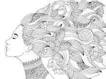 Vector Hand gezeichnete Illustrationsfrau mit dem Blumenhaar für erwachsenes Malbuch Handzeichen für erwachsenen Antidruck Stockfotografie