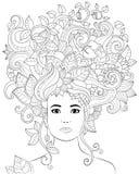 Vector Hand gezeichnete Illustrationsfrau mit dem Blumenhaar für erwachsenes Malbuch Handzeichen für erwachsenen Antidruck Stockfotos