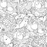 Vector Hand gezeichnete lustige, glückliche Gemüse-, Frucht- und Beerenillustration für erwachsenes Malbuch Handzeichen für Stockfoto