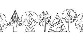 Vector Hand gezeichnete nahtlose Grenze, Muster, dekorative stilisierte kindische Schwarzweiss-Bäume Gekritzelskizzenart, grafisc Stockfotos