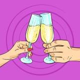 Vector Hand gezeichnete Pop-Arten-Illustration des Mannes und der Frau Gläser von Shampagne Stockfotos