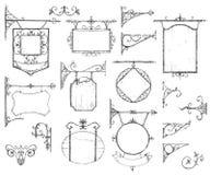 Vector Hand gezeichnete Sammlung Weinleseschilder, Klammer und Stockfotos
