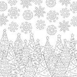 Vector Hand gezeichnete Schneeflocken, Weihnachtsbaumillustration für erwachsenes Malbuch Handzeichen für erwachsenen Antidruck Lizenzfreie Stockfotos