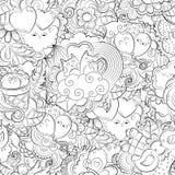 Vector Hand gezeichnetes Herz, Katze, Ballon, Wolke, Erdbeere, Vogel, Geschenk, Schmetterlingsillustration für erwachsenes Malbuc Stockfotos