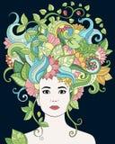 Vector Hand gezeichnetes Illustrationsfrauenporträt mit dem Blumenhaar, den Blumen und den Blättern für erwachsenes Malbuch Vekto Lizenzfreie Stockfotografie