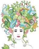 Vector Hand gezeichnetes Illustrationsfrauenporträt mit dem Blumenhaar, den Blumen und den Blättern für erwachsenes Malbuch Vekto Stockfoto
