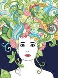 Vector Hand gezeichnetes Illustrationsfrauenporträt mit dem Blumenhaar, den Blumen und den Blättern für erwachsenes Malbuch Vekto Lizenzfreie Stockfotos