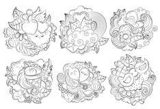 Vector Hand gezeichnetes lustiges Herz, Katze, Vogel, Bonbon, Wolke, Ballon, Schmetterlingsillustration für erwachsenes Malbuch s Stockbilder