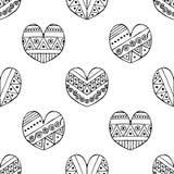 Vector Hand gezeichnetes nahtloses Muster, dekorative stilisierte kindische Schwarzweiss-Herzen Gekritzelskizzenart, grafische Il Stockbild
