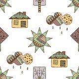 Vector Hand gezeichnetes nahtloses Muster, dekoratives stilisiertes kindisches Haus, Baum, Sonne, Wolke, Regen Gekritzelart, graf Lizenzfreies Stockfoto