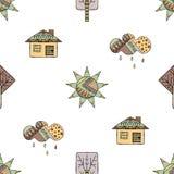Vector Hand gezeichnetes nahtloses Muster, dekoratives stilisiertes kindisches Haus, Baum, Sonne, Wolke, Regen Gekritzelart, graf Stockbilder