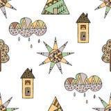 Vector Hand gezeichnetes nahtloses Muster, dekoratives stilisiertes kindisches Haus, Baum, Sonne, Wolke, Regen Gekritzelart, graf Lizenzfreie Stockfotos