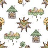 Vector Hand gezeichnetes nahtloses Muster, dekoratives stilisiertes kindisches Haus, Baum, Sonne, Wolke, Regen Gekritzelart, graf Stockfotos