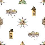 Vector Hand gezeichnetes nahtloses Muster, dekoratives stilisiertes kindisches Haus, Baum, Sonne, Wolke, Regen Gekritzelart, graf Lizenzfreie Stockfotografie