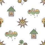 Vector Hand gezeichnetes nahtloses Muster, dekoratives stilisiertes kindisches Haus, Baum, Sonne, Wolke, Regen Gekritzelart, graf Stockfotografie